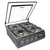 Estufa Sobremesa Acero Inoxidable 52 cm Gas Propano 4 Puestos SG-7054 AXXIS -07-P-1 Negro