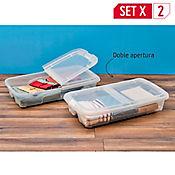 Set x2 Cajas Bajo Cama Con Ruedas