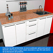 Mesón para Cocina Postformado 220x60 cm con Poceta Derecha Mármol Coral