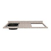 Mesón para Cocina Postformado 150x52 cm con Poceta Izquierda y Perforación para Cubierta Derecha Jaspe Claro