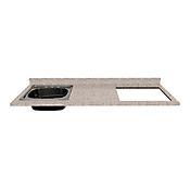 Mesón para Cocina Postformado 180x52 cm con Poceta Izquierda y Perforación para Cubierta Derecha Jaspe Claro