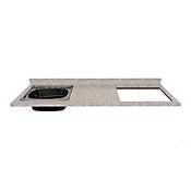 Mesón para Cocina Postformado 180x60 cm con Poceta Izquierda y Perforación para Cubierta Derecha Jaspe Claro