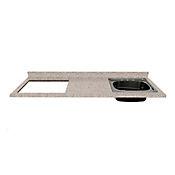 Mesón para Cocina Postformado 150x52 cm con Poceta Derecha y Perforación para Cubierta Izquierda Jaspe Claro