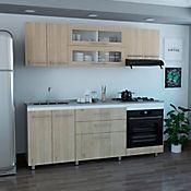 Cocina Integral Gibraltar 2.10 metros 10 puertas 3 cajones Rovere - Blanco