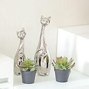 Escultura Gato Dubai 33 cm Plata