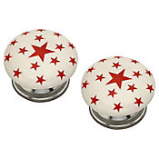 Pomo Porcelana 40Mm Estrellas Rojas 2Und Fixser