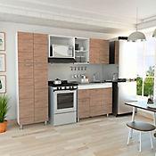 Cocina Integral Ferreti 2.20 metros 11 puertas 1 cajón Miel Blanco Incluye Mesón Derecho + Alacena + Módulo Microondas