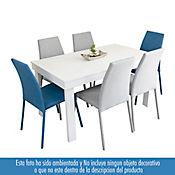 Set Comedor 6 puestos Napo Blanco con Sillas Tela Plata Azul