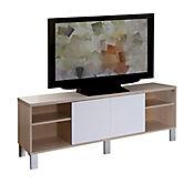 Mesa para TV con Puertas Corredizas 53x160x36cm Blanco