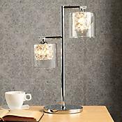Lámpara Ara Mesa Lorene 2 Luces   G9 Cristal Cromo