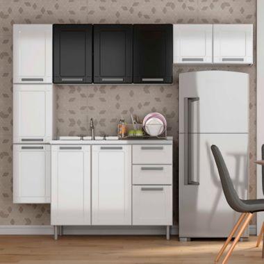 Cocina Integral Multipla 2.10 Metros 10 Puertas 3 Cajones Blanco - Negro  Incluye Mesón Izquierdo