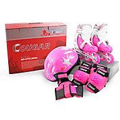 Set De Patines Ajustables + Casco Y Protecciones MZS833PU Color Rosado Talla Mediana (32-35)