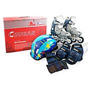 Set De Patines Ajustables + Casco Y Protecciones MZS833PU Color Gris y Azul Talla Mediana (32-35)