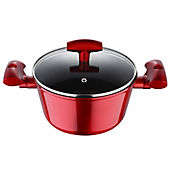 Olla 28cm Tapa Vidrio Forged Red Induction