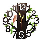 Reloj De Pared Árbol Negro Mate