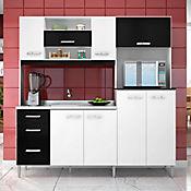 Cocina Integral 1.77 metros Mirela Blanco/Negro 8 Puertas 3 Cajones