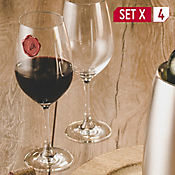 Set X 4 Copas Vino Burdeos 580ml Cristal