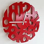 Reloj Pared Numeros 34 cm Calado Rojo