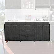 Mueble Inferior para Cocina 1.80 metros Bari 85.05x180x50.8 cm 4 Puertas 3 Cajones Roble Gris