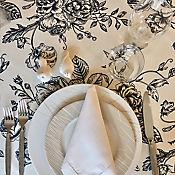 Mantel 146x180cm Negro Floral