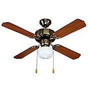 Ventilador Decorativo 3600cfm 106cm 4 Aspas 1 Luz 3 Velocidades Café