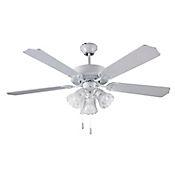Ventilador Decorativo 4300cfm 132cm 5 Aspas 3 Luces 3 Velocidades Blanco