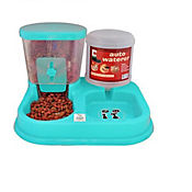 Comedero Plástico Dosificador de Doble Uso para Mascotas 30 x 34,5 x 23,5 cm Azul