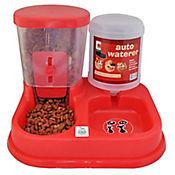 Comedero Plástico Dosificador de Doble Uso para Mascotas 30 x 34,5 x 23,5 cm Rojo