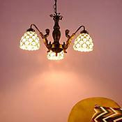 Lámpara Ara Colgante Tiffany 3l E27 Crema Antique