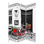 Biombo Bici Roja Flor 120x180 cm