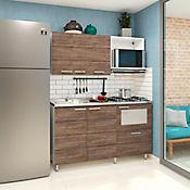 Cocina Integral Selecta 1.50 Metros 7 Puertas 3 Cajones Wengue Incluye Mesón Izquierdo Con Estufa 4 Fogones A Gas