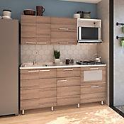 Cocina Integral Selecta 1.80 Metros 8 Puertas 2 Cajones Roble Oscuro Incluye Mesón Izquierdo Con Estufa 4 Fogones A Gas