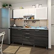 Cocina Integral Acerta 1.80 Metros 6 Puertas 3 Cajones Blanco - Tabaco Chic Incluye Mesón Derecho Con Estufa 4 Fogones A Gas