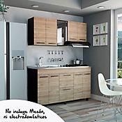 Cocina Integral Luna 1.50 Metros 9 Puertas 2 Cajones Wengue - Miel