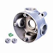 Caja Aluminio - Redonda 5 Salidas de 1/2 Pulg X 12 Unds