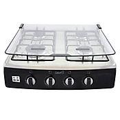 Estufa de Sobremesa 4 Puestos Tapa de Vidrio Gas Propano Acero Inoxidable Negro 4039