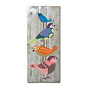 Cuadro Decorativo En Madera Pájaros 20x50x1,5 cm Azul