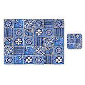 Set Individual y Portavasos MDF3 con Adhesivo Mate Azul