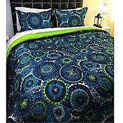 Edredón Estampado Tipo Quilt Doble Faz Verde - Azul Queen
