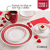 Vajilla Crimson Trellis Corelle X 2