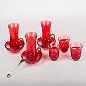 Set para Té o Café en Vidrio Turkia 12 Puestos Rojo