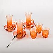 Set para Té o Café en Vidrio Turkia 12 Puestos Naranja