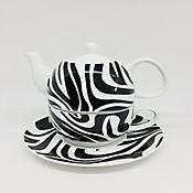 Set para Té Café o Aromática 4 Piezas Negro/Blanco