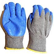 Paqx6 Pares De Guantes Hilaza Calibre 10 40% Algodón Poliester, 60% Latex Recubierto Corrugado Azul/Gris Puño Tejido.