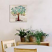 Cuadro Arbol Color 35x35 cm Sobre Tablón