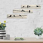 Cuadro Triptico Pájaros Sobre Tablones 40x21