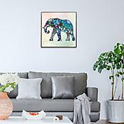 Cuadro Retablo Elefante  40x40 cm Azul