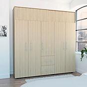 Closet Bigaf 5 Puertas 2 Cajones 204x200x50,3cm Rovere