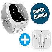 Smartwatch M26 + Audífonos Minimalistas Blancos