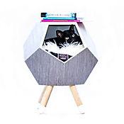 Casa Madera para Gato con Patas + Cojín Modo 47X56Cm Flor Morado Gris Mallado